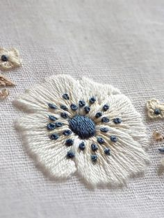 white anemones embroidery