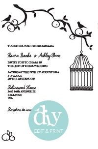 DIY Wedding invitations- downloadable template