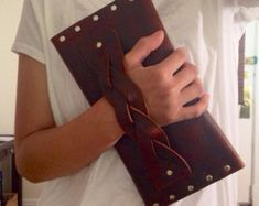 Handmade, leather clutch, purse