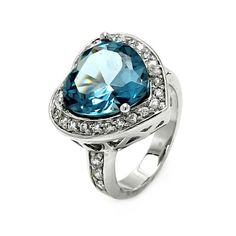Sterling Silver Ladies Ring Blue Heart by CleanCastingJewelry, $54.99