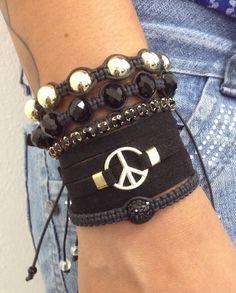 Kit de pulseiras femininas som símbolo da paz peace shambala bracelets strass