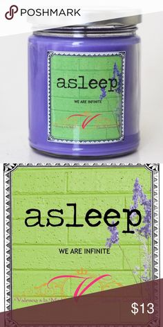 Asleep : The Perks of Being a Wallflower Candle *BRAND NEW!* Notes: (Lavender Vetiver with Lavender Essential Oil : Think of the most calm you've ever been...this candle is something like that!!! I'm so in love with it!)  *Your soy candle will come in an 9 ounce straight sided glass jar filled with 8 ounces of all natural soy wax from the United States, a low smoke wick, dye chips, and the maximum amount of high quality fragrance oil. Your jar can be washed and recycled or reused…
