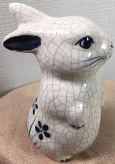 "Dedham Rabbit Potting Shed Standing 4"" Figurine Crackle Finish Blue Signed Dated #DedhamPottery"