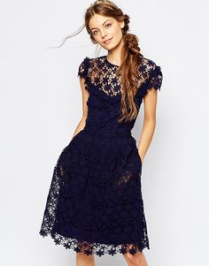 Image 1 ofPaul and Joe Sister Floral Lace Midi Dress in Navy