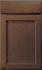 Adams door style, maple with fireside stain and black glaze. Mid Continent Cabinetry