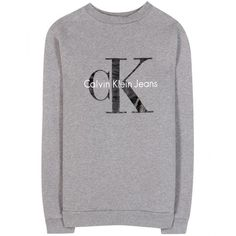 Calvin Klein Jeans Cotton Logo Sweatshirt ($247) ❤ liked on Polyvore featuring tops, hoodies, sweatshirts, sweatshirt, calvin klein, shirts, heather grey, calvin klein jeans, fleece lined shirt and crewneck shirt