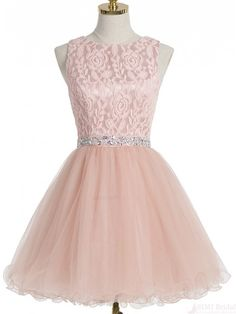 A-line Pink Lace Beading Tulle Homecoming Dresses Cocktail Dresses (ED1310)