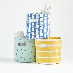 Round Storage Bins | Crate and Barrel Kids Storage Bins, Toy Storage Boxes, Storage Containers, Storage Baskets, Crate Storage, Storage Ideas, Modern Toy Boxes, Baby Playroom, Playroom Ideas