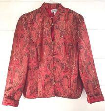 Vintage Jacket Top ORIENTAL INSPIRED Red PAISLEY Metallic Gold Size Med METAPHOR #eBayDanna