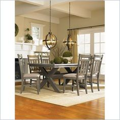 Powell Cafe 7 Piece Turino Dining Set in Grey Oak Stain