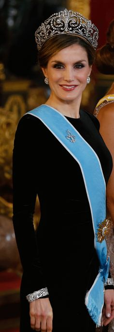 Queen Letizia of Spain attends a Gala Dinner at the Royal Palace in honour of Argentina's President, Mauricio Macri, and his wife, Juliana Awada, on February 22, 2017 in Madrid, Spain.
