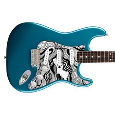 Artistic Hand Drawn Of A Girl With Rose For Strat Style | stormguitar