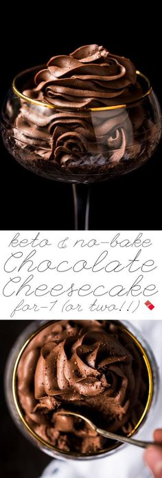 No-Bake Gluten Free Keto Chocolate Cheesecake For 1 (Or Two!!) Easy-peasy and fairly instant! #keto #ketodesserts #ketocheesecake