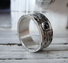 Black Diamond Mens Wedding Band by HotRoxCustomJewelry on Etsy