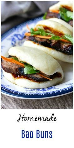 chinese food These Steamed Bao Buns (Chinese Steamed Rolls also know as Gua Bao) are classic light and fluffy dim sum breads that are typically filled with Chinese barbecue pork and pickled vegetables. Pork Recipes, Asian Recipes, New Recipes, Dinner Recipes, Cooking Recipes, Ethnic Recipes, Steam Recipes, Cooking Tips, Steamed Bao Buns