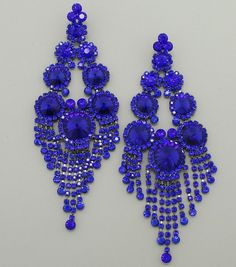 """Gorgeous Long Chandelier Earrings at 5 3/4"""" long will surely get you noticed!  These come in many different colors. Hard to find long earrings, only at L&M Bling."""