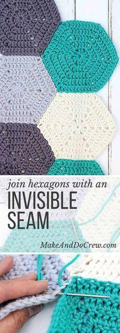 Juntando hexágonos de crochê com costura invisível                              …