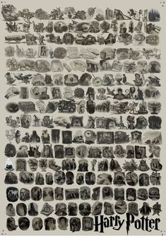 "Every ""Harry Potter"" Chapter Illustration. I want this as a poster please."