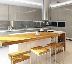 Kuchnie - Duża otwarta kuchnia w kształcie litery l z wyspą, styl nowoczesny…