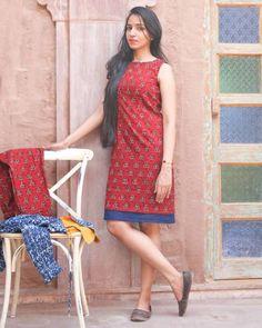 Red Hand Block Printed Dress I Shop at :http://www.thesecretlabel.com/designer/medhya