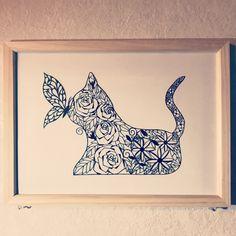 猫と蝶 薔薇っぽいものを描きたい切りたい病にかかってるようです(笑 #kirie #切り絵 #papercutting