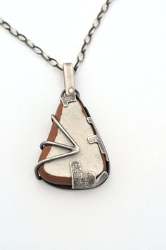 Sterling Silver Necklace with White Beach Pottery by ErinAustin