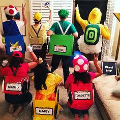 Group costume idea - Mario Kart   Luigi, Mario, Princess Daisy, Toad, Toadette, Wario, Cloud Guy