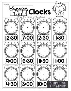 Running Late Clocks, telling time, and TONS of other hands-on fun math and literacy printables for second grade back to school! Kindergarten Math Worksheets, Math Literacy, Fun Math, Math Activities, First Grade Math, Second Grade, First Day Of School Activities, Math For Kids, Running Late