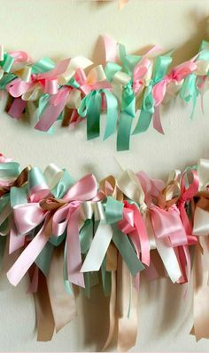 Pretty ribbon garland for a Birthday Party!  See more party ideas at CatchMyParty.com!