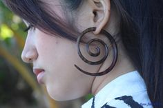 Large Tribal Wooden Earring Double Spiral Fake Gauge by ayujewelry, $11.50