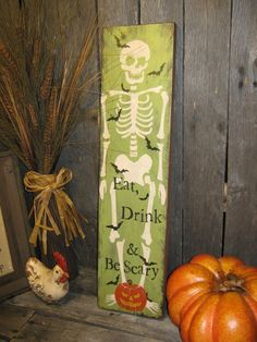 Hand Painted Halloween Sign Primitive Large Holiday Wooden Halloween Sign