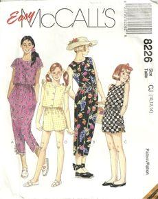 McCalls 8226 Girls Easy Running Shorts Shirt Top Capris Sewing Pattern Plus Size 10-14