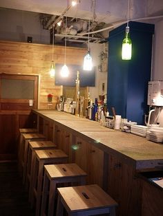 counter, interior, and lights image Resturant Interior, Restaurant Interior Design, Commercial Interior Design, Japanese Bar, Japanese Design, Ramen House, Ramen Restaurant, Noodle Bar, Best Coffee Shop