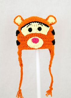 Tigger Earflap Hat from Winnie the Pooh, send size choice baby - adult. $30.00, via Etsy.