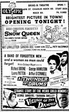 Art Linkletter, Sandra Dee, Bright Pictures, Drive In Theater, Snow Queen, Newspaper, Letting Go, Theatre, Scene