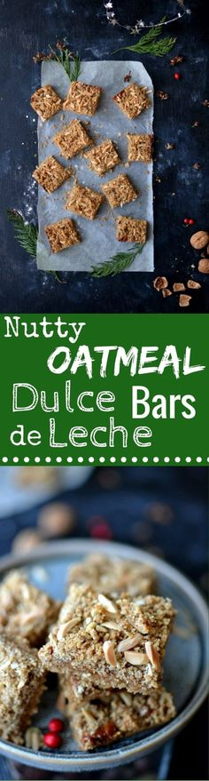 Packed with Healthy & Naughty ingredients, these Nutty Oatmeal Dulce De Leche Bars are a Delicious Treat that won't break your New Year's Resolutions!
