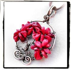 Red coral tree of life pendant   www.fashionwire.net