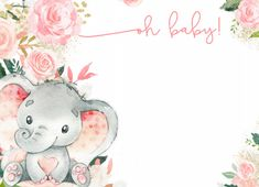 Homemade Invitations, Baby Invitations, Baby Girl Elephant, Elephant Baby Showers, Baby Girl Shower Themes, Baby Shower Invites For Girl, Happy Birthday Wallpaper, Baby Illustration, Baby Shower Invitaciones
