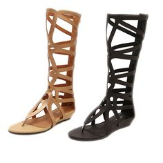 Summer Ladies womens gladiator sandals strappy flat knee high up, zip boots shoe #100NewBrand #Strappy
