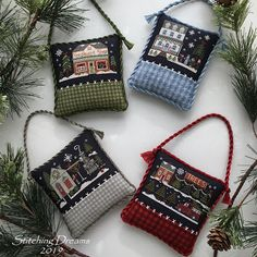 """Stitching Dreams was born! Yes, on January I took a leap of faith, hit the """"publish"""" button, and began a brand new--and very rew. Cross Stitch House, Just Cross Stitch, Cross Stitch Finishing, Christmas Sewing, Christmas Cross, Xmas, Cross Stitch Designs, Cross Stitch Patterns, Little House Needleworks"""