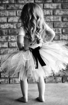 Cute idea for a little girl's photograph in black and white.