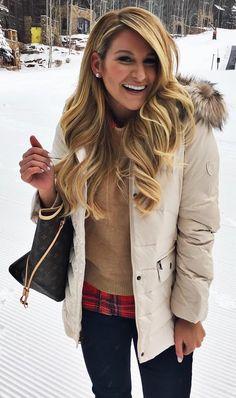 #winter #fashion /  White Puff Jacket + Camel Knit