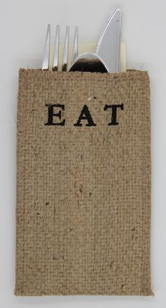 EAT Burlap Silverware Holder- Set of 8