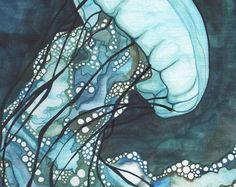 Aqua Sea Nettle JELLYFISH 5 x 7 print of detailed watercolour artwork, marine sea ocean magic tentacles phosphorescence glow