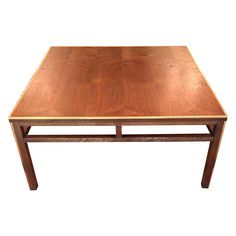 Vintage Walnut and Brass Square Coffee Table on Chairish.com