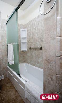 Relaxing Shower Shelving #ReBath #Bathroom #Remodel