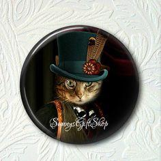 Pocket Mirror  Steampunk Kitty Buy 3 get 1 Free 236-S