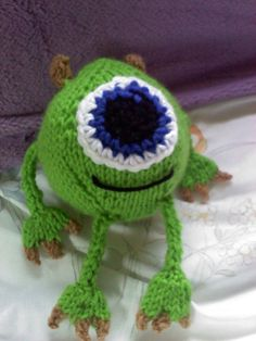 Knitting Pattern for Mike Wazowski from Monsters Incorporated and Monsters University - #ad Toy plushie 5 inches tall sitting. KnitKritters also sells the finished toys as well as the DIY pattern. tba movie