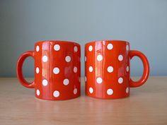 Pair of Vintage Waechtersbach Polka Dot Mugs by tippleandsnack, $21.50
