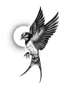 Swallow Tattoo Design, Swallow Bird Tattoos, Tattoo Design Drawings, Tattoo Sketches, Tattoo Designs Men, Black Bird Tattoo, 3 Birds Tattoo, Bird Tattoo Men, Bird Tattoo Back